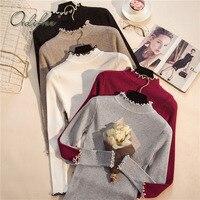 Ordifree Pull Femme Women Knitted Pullover 2017 Autumn Winter Jumper Knitwear Slim Warm Turtleneck Women Sweater