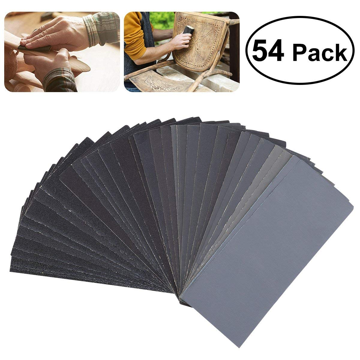 Hot sale 54pcs 60 to 3000 Grit Sandpaper Assortment Wet Dry Sand Paper for Automotive Sanding Wood water dry sanding paper sandpaper w3 5 w7 w10 w14 w20 w28 w40 w50 w63 w70