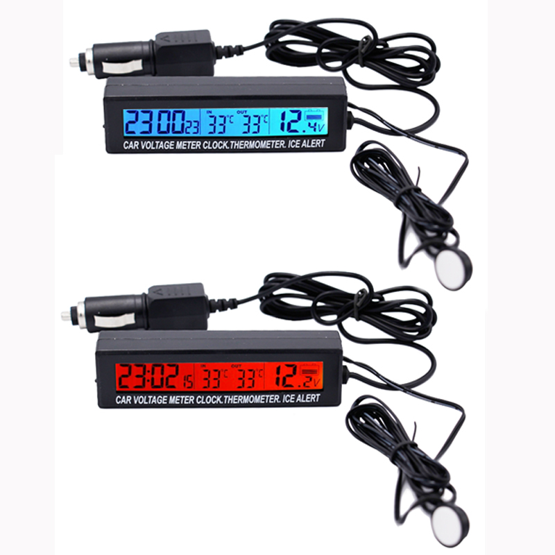3 in1 Digital Car Thermometer Voltmeter Auto Indoor Outdoor Temperature Voltage Meter Alarm Clock  Blue Orange Backlight 40%off dc12v 24v digital meter 20 100 degrees celsius thermometer dual display temperature meter for car water air indoor outdoor etc