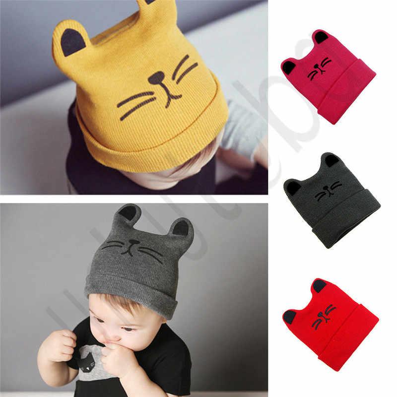 หวานทารกแรกเกิดเด็กสาวเด็กชายน่ารักแมวฤดูใบไม้ร่วงฤดูหนาวที่อบอุ่นถักหมวก Beanie หมวก