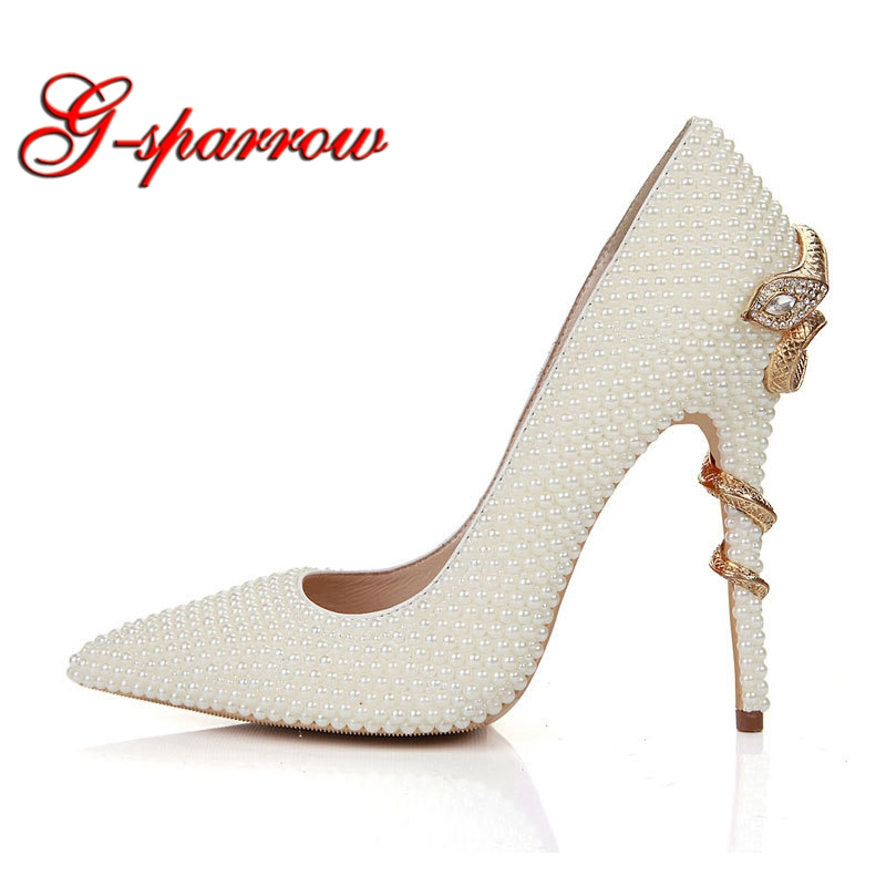 Handmade Ivory Pearl Bride Shoes Snake Style High Heels Pointed Toe Wedding Party Shoes Thin Heel Mother of the Bride Shoes 15cm fashion show thin high heels super high heels of the lacquer that bake the bride shoes sandals girl with high performance