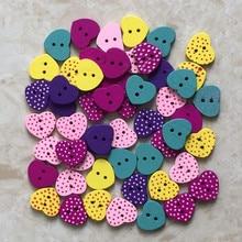 High quality 100pcs 2-Holes wood buttons 15*13*2.5mm size Heart DIY clothes hat bag headwear etc Hot Sale