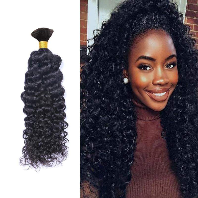 Mongolian Afro Kinky Curly Human Braiding Hair Bulk
