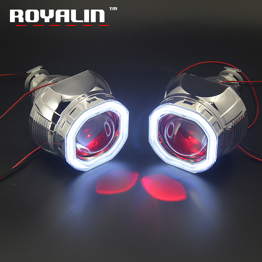 ROYALIN DRL Square Headlight Mini 2.5 Projector Lens W2 Bi Xenon H1 COB LED Octagonal Shrouds Angel Devil Eyes H4 H7 Car Styling