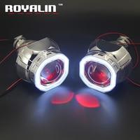 ROYALIN DRL Square Headlight Mini 2.5 Projector Lens W2 Bi Xenon H1 COB LED Octagonal Shrouds Angel Devil Eyes H4 H7 Car Styling