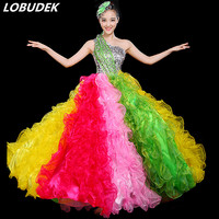 Colorful Crystals Bubble Dress Adult Women Modern Dance Costume Long Dress Celebration Dance Teams Open Dancing Performance Wear