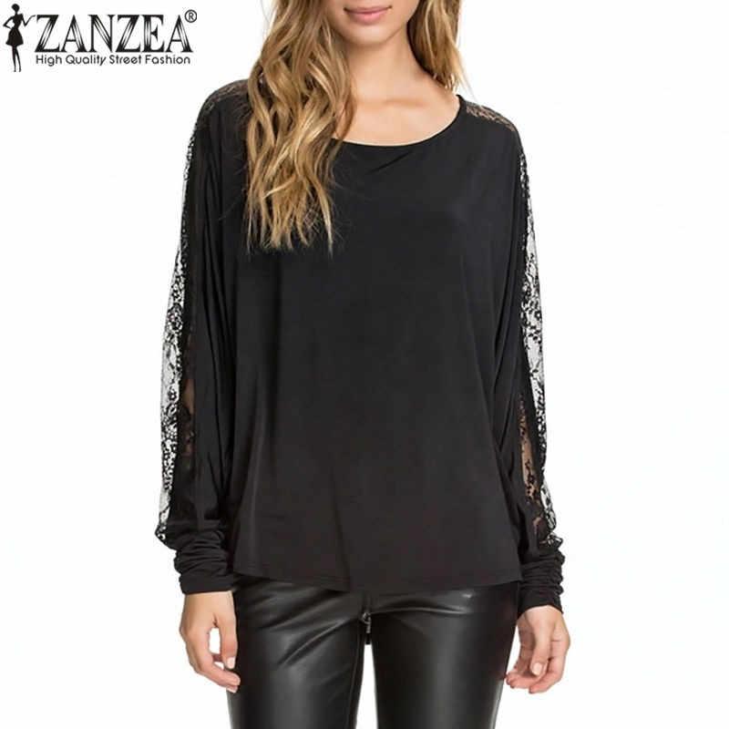 Zanzea 2019 outono mulheres rendas malha superior blusas sexy splice ponto sem encosto manga camiseta feminina senhora pulôver feminina