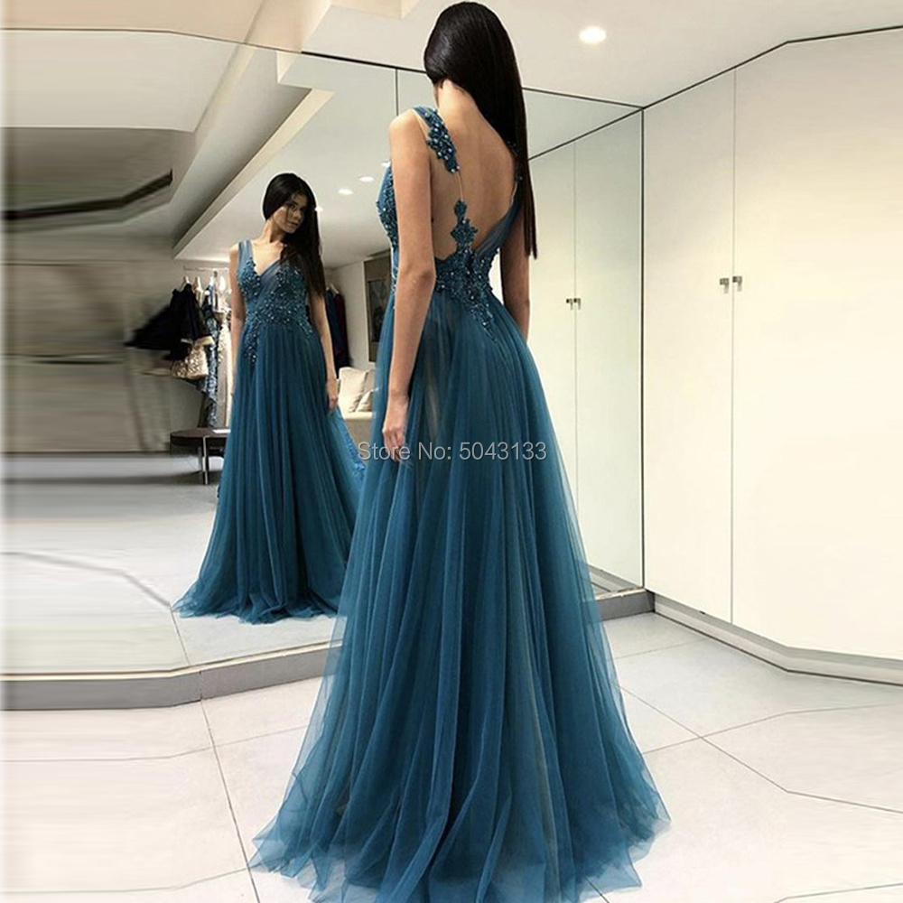 V Neck Floor Length Tulle Prom Dresses 2020 Sexy Off The Shoulder High Slit Formal Prom Evening Gowns With Lace Appliques