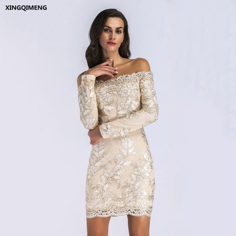 במלאי סקסי סירת צוואר רקמת שרוול ארוך קוקטייל שמלת תחרה אלגנטי קצר לבוש הרשמי זול פשוט מיני נשים שמלה