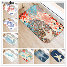 Hongbo Creative Rugs Washable Marine Life Carpet Mats Bedroom Starfish Conch Seahorse Pattern Non-Slip Floor Area Rug