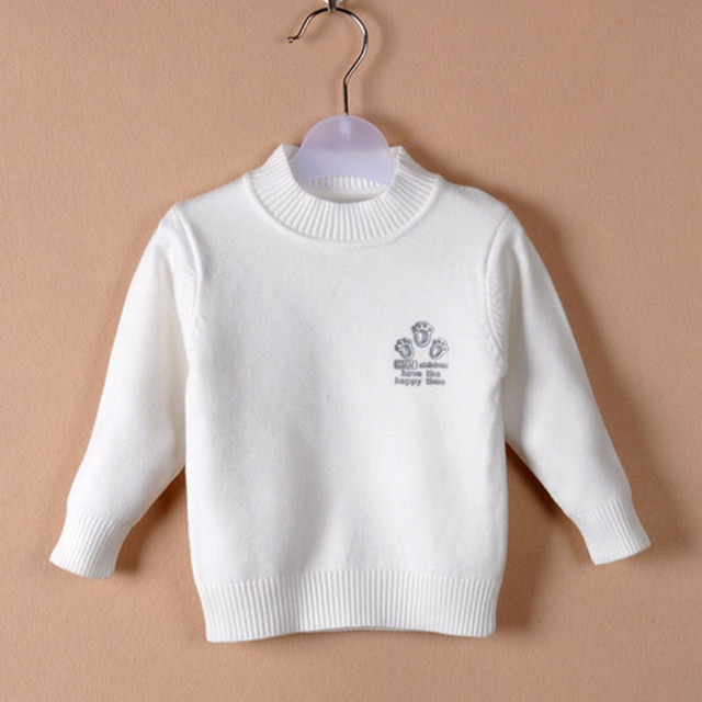 2017 New Autumn Winter Sweater 100% Cotton Thicken Baby Boys Girls Sweater Casual Solid Bottoming Shirt Children Clothes hx003
