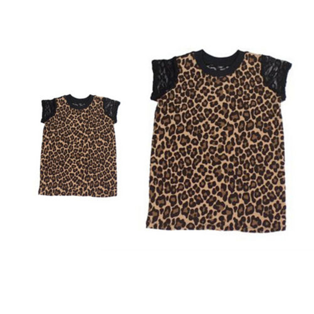 Women Kids Fashion T-shirt Short Sleeve Leopard Patchwork Round Neck Tees  Lace Tops for Family Clothes 0ee85d2011