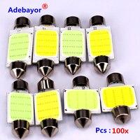 100X pcs/많은 31 미리메터/36 미리메터/39 미리메터/41 미리메터 12 볼트 COB 꽃줄 주도 자동차 전구 인테리어 조명 램프 주차 무료 배송