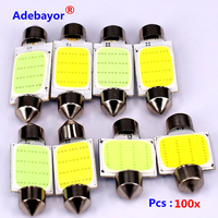 100X Pcs Lot 31mm 36mm 39mm 41mm 12V COB Festoon LED Car Bulb Auto Led Interior