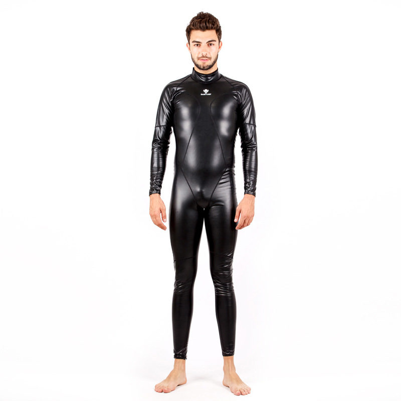 Full Body PU Waterproof One Piece Swimsuits Women Men Long Sleeve Swimwear Competitive Swimming Wetsuit Warm diving suit for Men