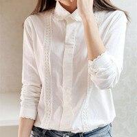 White Blouse Women Work Wear Button Up Lace Turn Down Collar Long Sleeve Cotton Top Shirt