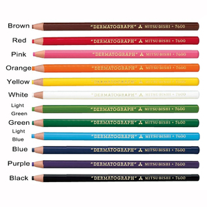 Image 5 - 12 teile/schachtel Japan Weiß Schwarz Dermograph Mitsubishi 7600 UNI Weiche Farbige Bleistifte für Tattoo Augenbraue Marker Farbe Bleistift