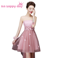 sexy birthday strapless party dress elegant high low short in front long in back blush cocktail dresses for women H2707