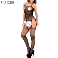 Black Fishnet Bodystocking Plus Size See Through Bodysuit Sex Product Bodysuits Erotic Sexy Lingerie Women Sexy