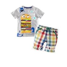 2016 Verano Ropa de Los Muchachos Nuevo Bebé Ropa Set Patrón hamburguesa Bot Niño Niños Camisetas + Pantalones Cortos A Cuadros Pantalones de Los Cabritos ropa