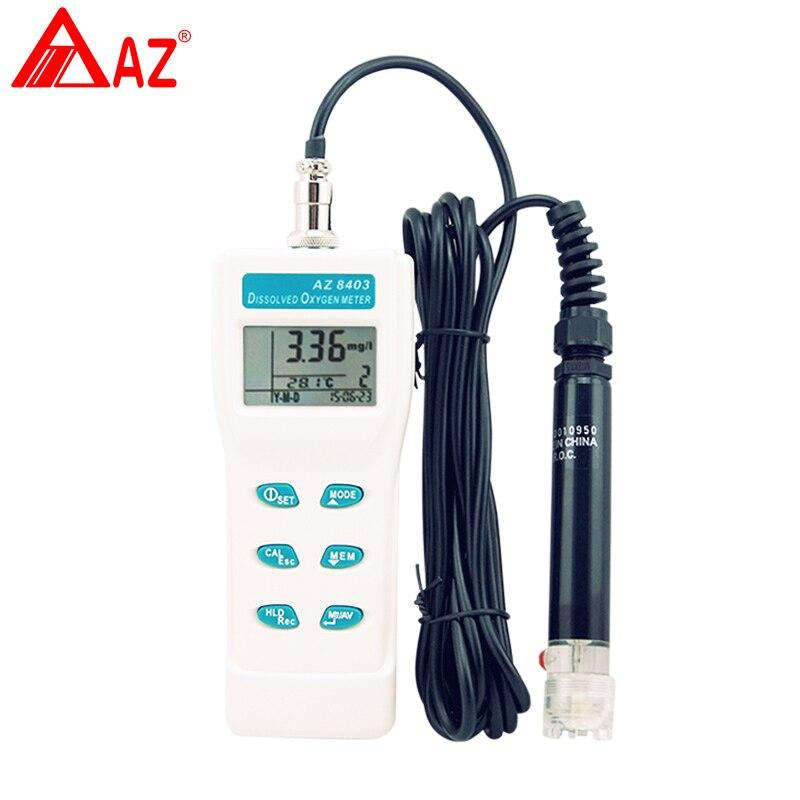 AZ8403 analisador De Oxigênio, medidor de aquário oxigênio sensor de densidade, Sonda medidor Portátil de oxigênio dissolvido da água oxigenador