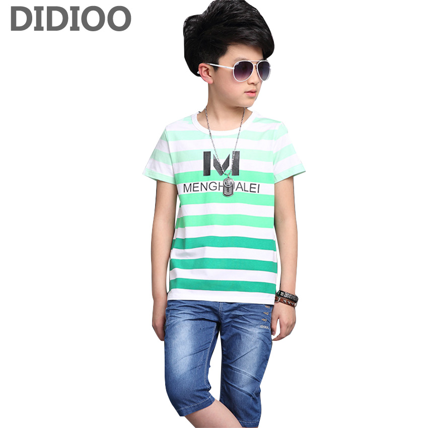 Buy Boys Cotton Outfits Kids Summer Striped Letter Tops & Jeans Pants Suits Child Clothing Sets 4 9 10 12 Years T-shirts Shorts Sets