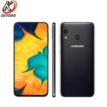 Перейти на Алиэкспресс и купить Абсолютно Новый Samsung Galaxy A30 A305F-DS 4G LTE мобильный телефон 6,4 дюйма 4 Гб ОЗУ 64 Гб ПЗУ Восьмиядерный Android 9,0 отпечаток пальца две sim-карты