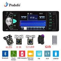 Podofo 4,1 дюймов 1 Din радио авто, аудио стерео Авто bluetooth Поддержка заднего вида камера USB руль дистанционное управление