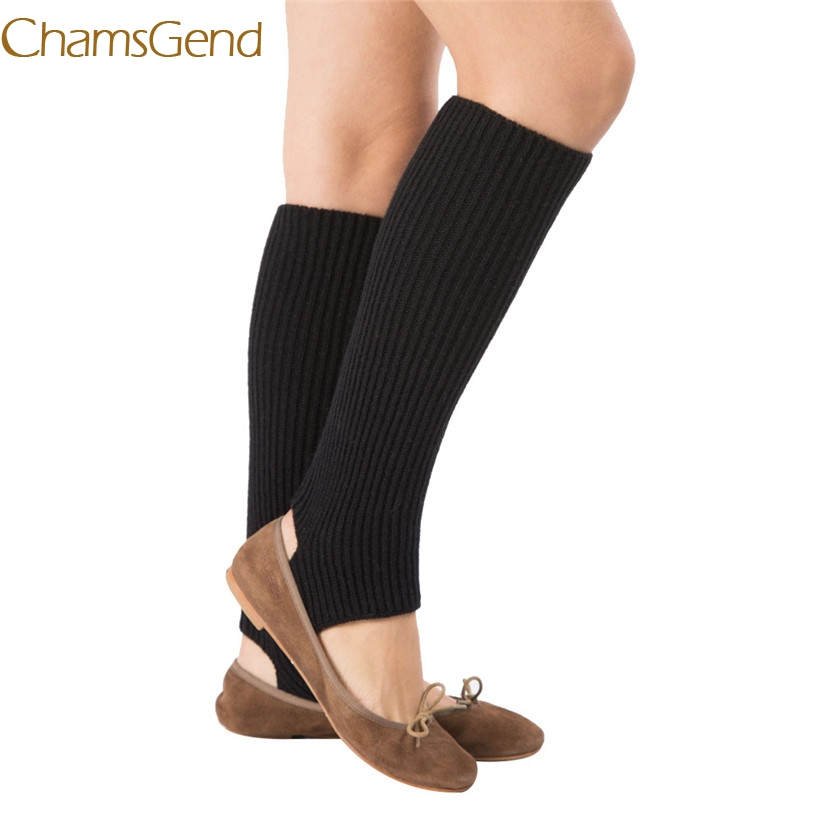 Chamsgend Leg Warmers Newly Design Women Knitted Long Socks Boot Cover Stirrup 161215 Drop Shipping