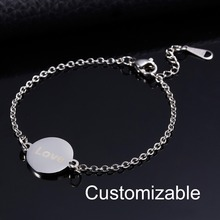 Rinhoo Women Elegant Personalized Stainless Steel Bracelets Custom Lettering Silver Gold Chain Wedding Jewelry Gifts