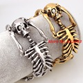 "8.26"" Fashion Rock Design Party Jewelry Silver or Gold Stainless Steel Cuff Bangle Bracelet Biker Doubld Skull Skeleton Style"