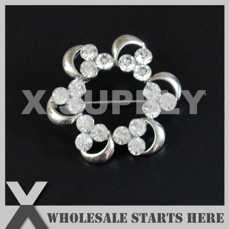 36mm Silver Metal Rhinestone Brooch with Safety Pin Backing,Used for Party Evening Wedding Dress,Decorations