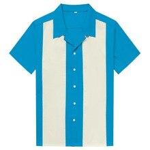 Camicia A Righe verticali Uomini casual Button Imbottiture Vestito di Cotone Camicette Manica Corta Maglietta Retro Hombre Bowling uomo Camicette