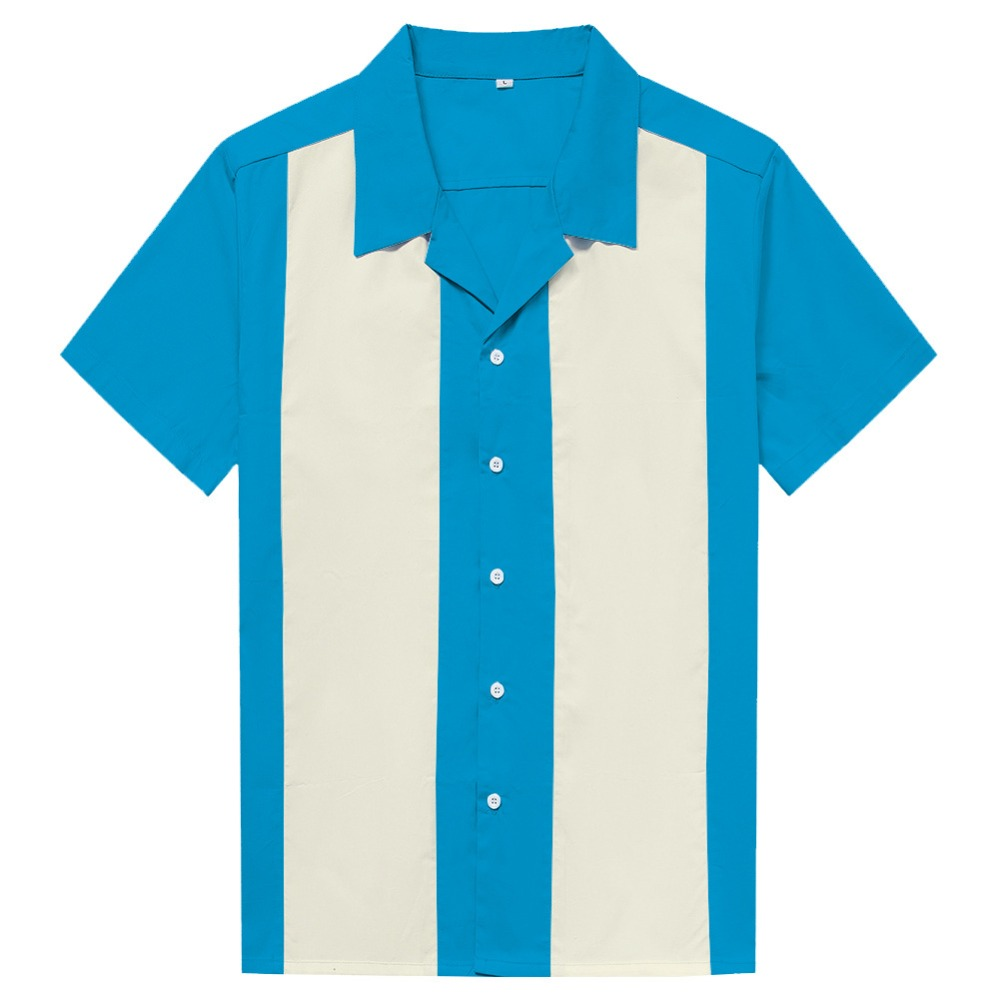 Retro Bowling Buttoned Jersey Turquoise//Black Vertical Stripes Many sizes