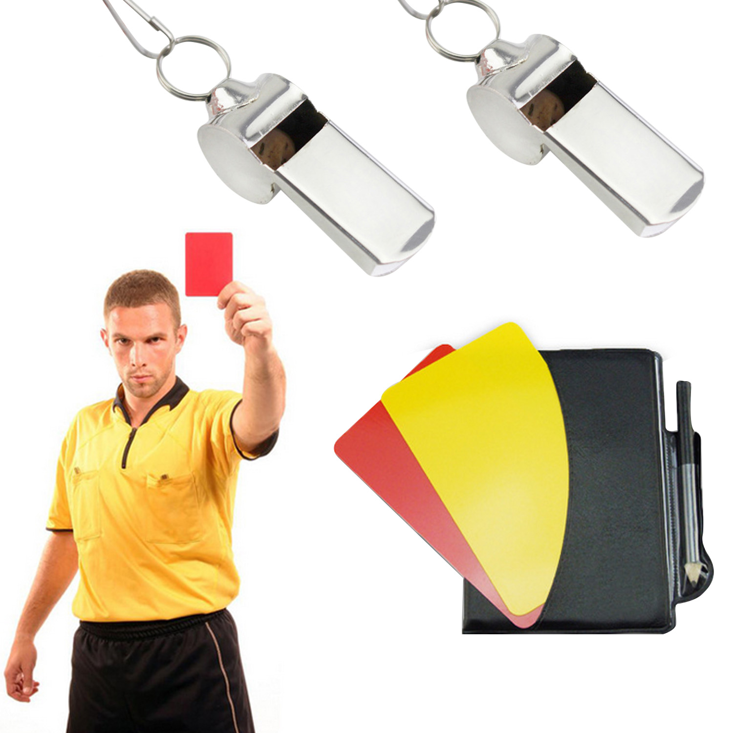 5 PCS Soccer Match Sports Referee Warning Card Set Special Warning Signs Red Yellow Card Metal Whistles Booklet