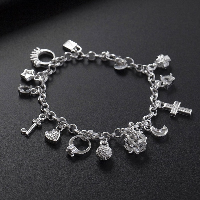 Hanging 13 Pieces Of Silver Bracelet Cross Classic 925 Silver Lady Girls Chain Charm Bracelet Female Personality Jewelry