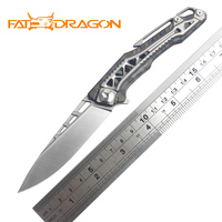 FATDRAGON DIVINITY TREE s35vn blade ball bearing titanium handle flip folding camping hunting pocket TC4 fruit knife EDC tool