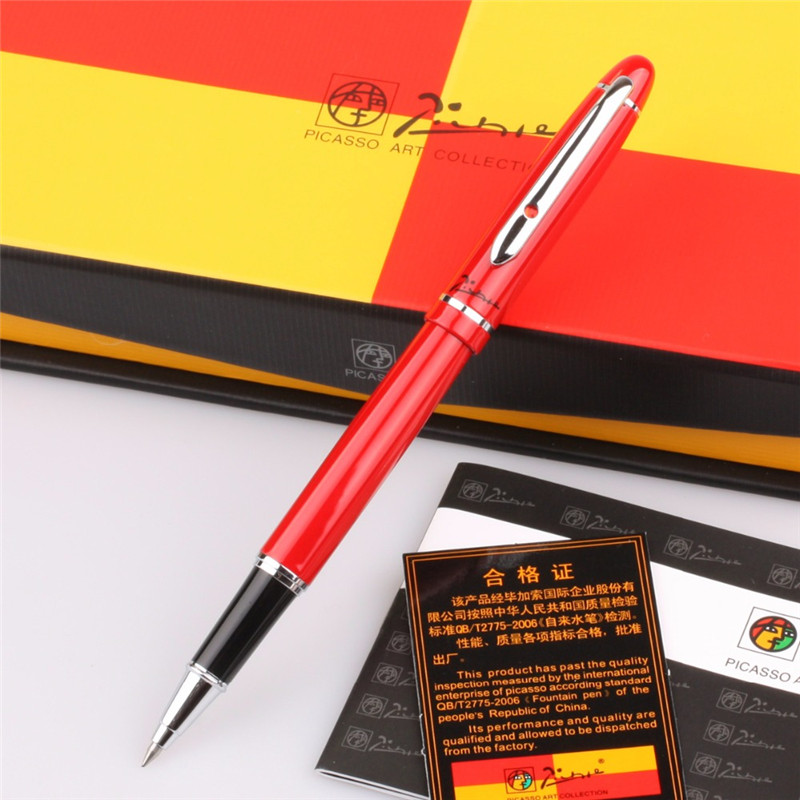 1pc/lot Red Picasso 608 Roller Ball Pen Angus Starling Pimio Pens Silver Clip Business/Office Supplies Stationery 13.6*1.3cm elegant 6 in 1 ball point pen red flag mini golf set silver