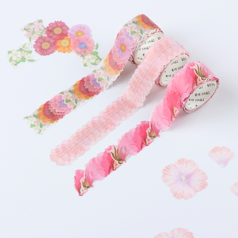 200PCs/Roll Creative Flower Petals Washi Tape DIY Scrapbooking Diary Paper Stickers Roll Creative Adhesive Paper Tape Stationery