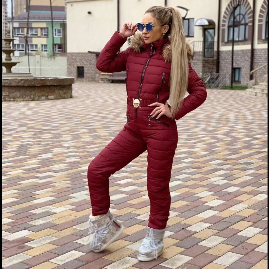 New Winter Hooded Jumpsuits Parka Fashion Padded Warm Sashes Ski Suit Zipper One Piece Women Casual