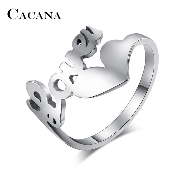 CACANA Titanium Stainless Steel Rings For Women Hollow Love Heart Trendy Wedding