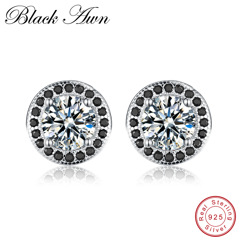 [BLACK AWN] Stud Earrings for Women Genuine 925 Sterling Silver Jewelry Black Spinel Stone Boucle D'oreille Wedding Brincos T148