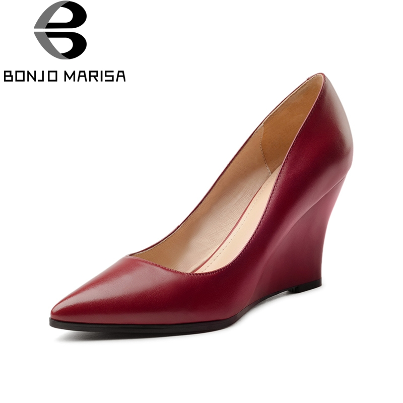 BONJOMARISA 2018 Cow Leather Wedge High Heels Large Size 33-40 Women Pointed Toe Shoes Woman Slip On Pumps Woman Shoes nayiduyun women genuine leather wedge high heel pumps platform creepers round toe slip on casual shoes boots wedge sneakers