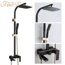 FAOP Shower system black faucet for bathroom mixer waterfall shower rain set