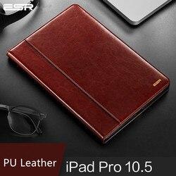 Caso para ipad pro 10.5 ar 3 capa esr premium couro do plutônio luxo negócio folio suporte automático wake smart cover para ipad ar 3 2019