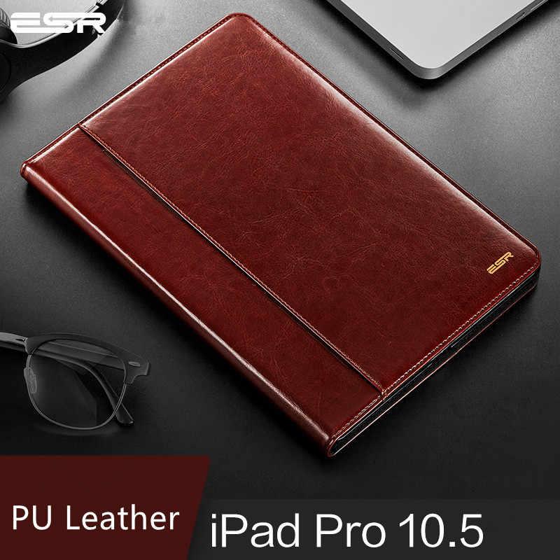 حافظة لجهاز iPad Pro 10.5 Air 3 غطاء ESR بريميوم بولي Leather جلد فاخر للأعمال فوليو حامل السيارات ويك غطاء ذكي لباد Air 3 2019