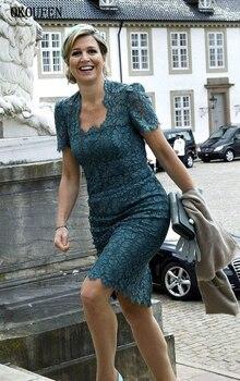 Lace Mother of the Bride Dresses 2019 Vintage Square Knee Length Short Sleeves vestido de madrinha farsali Custom Make