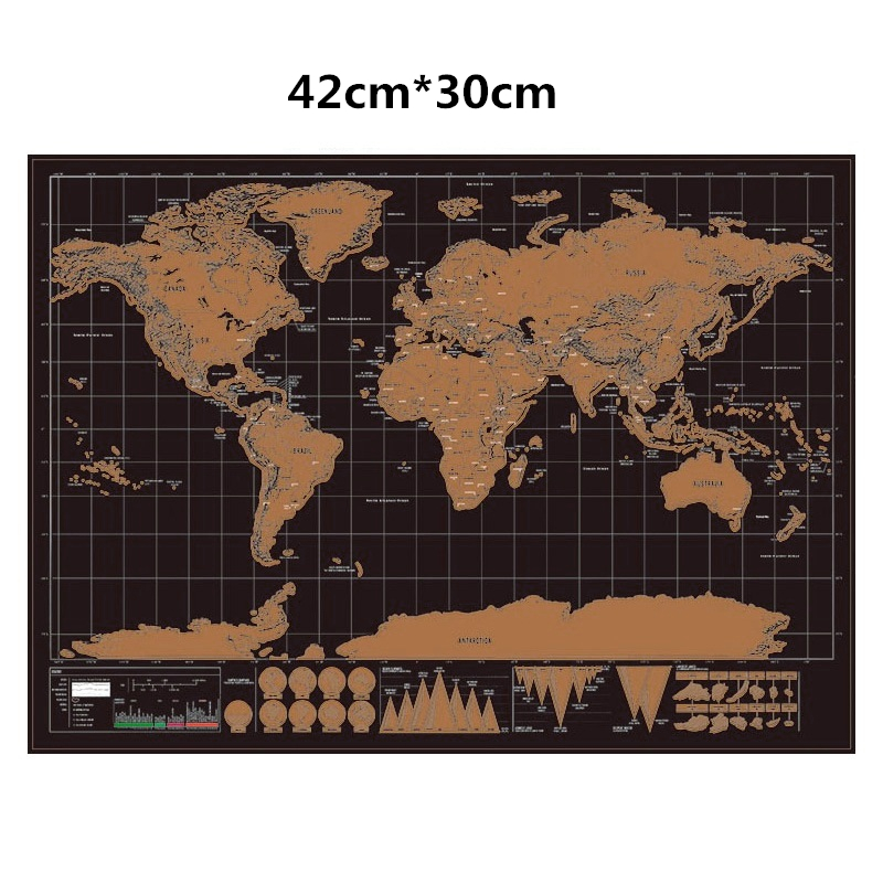 Deluxe Erase World Travel Map Scratch Off Travel Scratch Map 42x30cm Room Home Office Decoration Wall Stickers Small World Map
