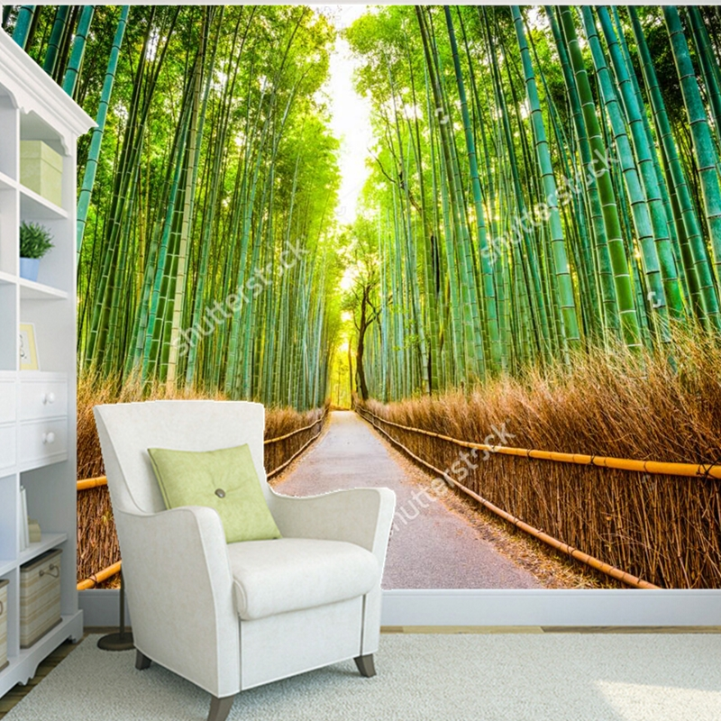 Custom natural scenery wallpaper,bamboo forest,3D photo mural for the living room bedroom dining room wall papel de parede custom 3d photo wallpaper 3d stereoscopic green forest mural for living room bedroom tv backdrop waterproof papel de parede