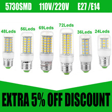 E27 Candle Bulb 110V 220V E14 LED Candle Wax Bulbs 5730 SMD Chandelier Led Bulb Light Lamp Christmas Candle Led Lamp spotlight